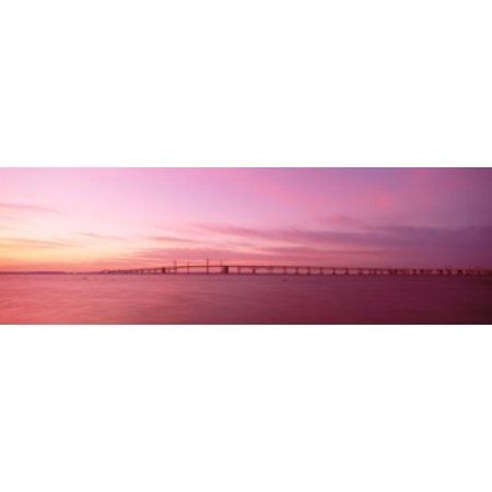 Dawn Chesapeake Bay Bridge Maryland USA Canvas Art - Panoramic Images (36 x 12)
