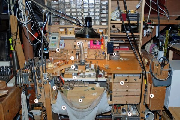 Dream Jeweler's Bench.  AMAZING organization tricks here.  (and a bunch of good tools too!)
