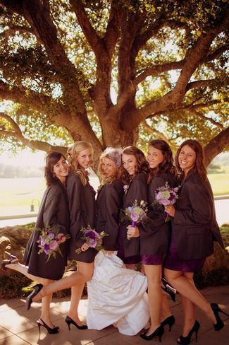 21 Wedding Photo Ideas for your Bridal Party   Confetti Daydreams - Get your bridesmaids to wear the groomsmen's blazer jackets and capture it -- with the whole wedding party and then just bride and groom
