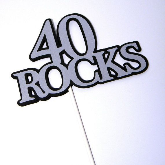 40th Birthday Topper - 40 ROCKS - Sucker Bouquet, Black and Silver on Etsy, $5.00