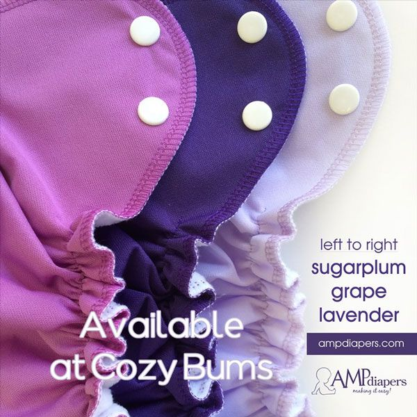We love our AMP diapers!  Beautiful colours, adorable ruffles, and made in Canada!
