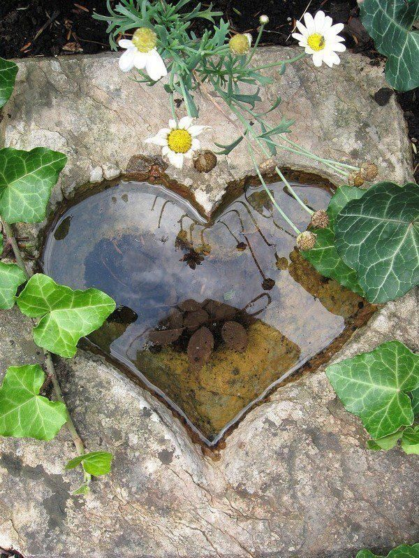 tiny pond in heart shape cut out of stone slab This is a really pretty use of a beautiful big stone. The water fills up each time it rains, so it's temporary unless you continue to fill it up in dry times.