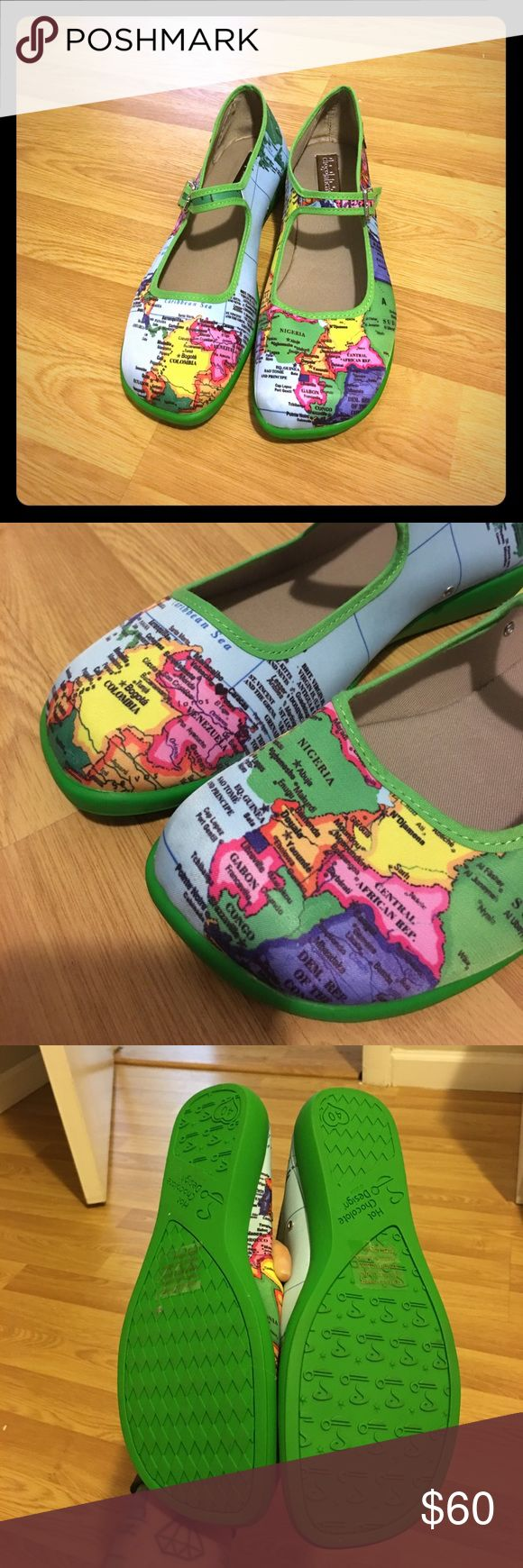 Map Mary Janes: Hot Chocolate Designs NWB Never been worn Mary Janes with map design from Hot Chocolate Designs.  These are adorable and so comfortable.  They are also, from what I can tell, out of circulation on the website.  These aren't flimsy like the cotton Mary Janes you can get at Urban.  Take them home today! Hot Chocolate Designs Shoes Flats & Loafers