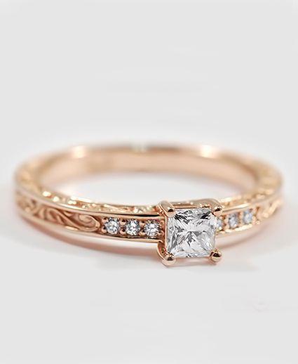 Scroll diamond ring