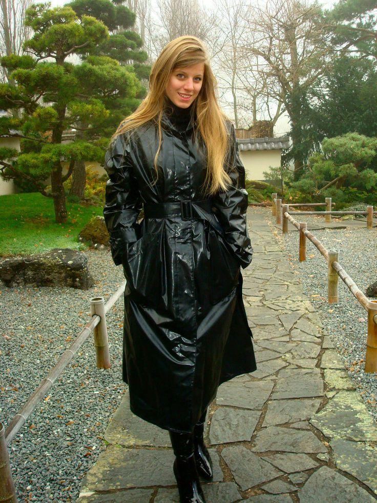 black pvc hooded raincoat things to wear pinterest. Black Bedroom Furniture Sets. Home Design Ideas