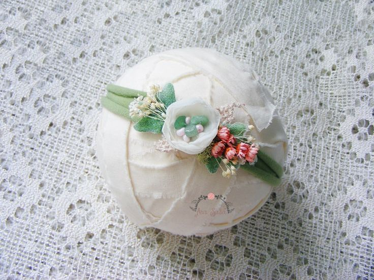 Mint newborn headband prop, Photography prop, Newborn tieback prop, Baby halo, Flower headband, Newborn crown by AraSASA on Etsy