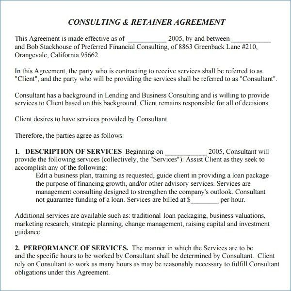Consulting Agreement Template California Retainer Agreement