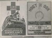 Foto van affiches en aanplakbiljetten: 2 affiches naast elkaar: (1) Landgenoten, steunt de Nederlandsche Ambulance in het oosten, (2) Moet ik ook?, van het Vrijwilligers-Legioen Nederland  Haan, F. de Datering1942 - 1944