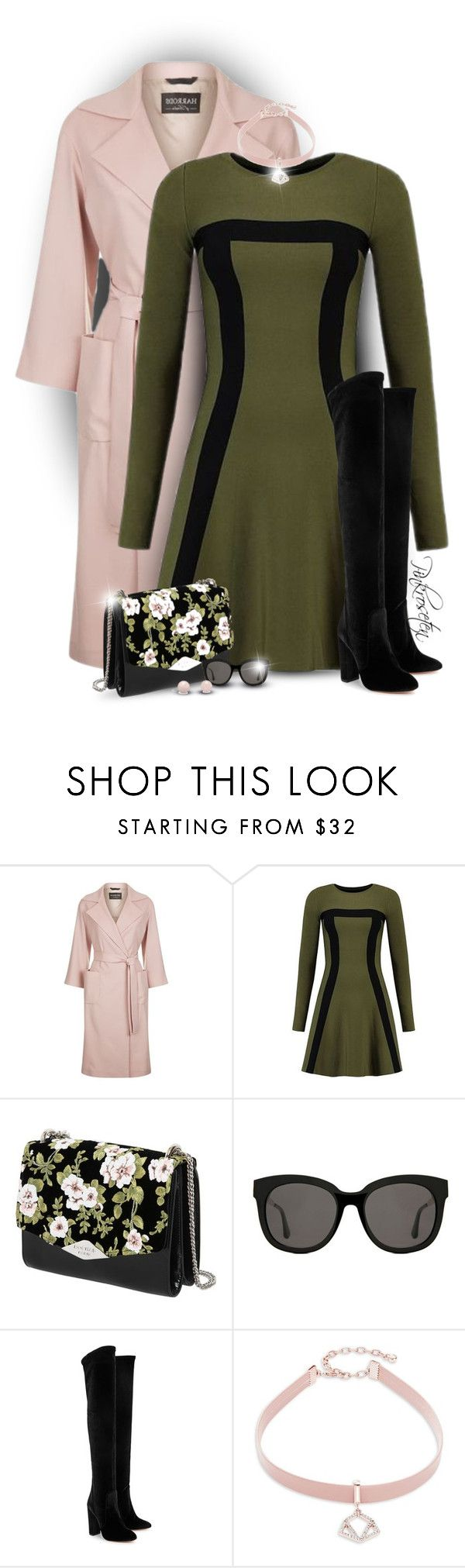 """Pink & Green"" by pinkroseten ❤ liked on Polyvore featuring Harrods, Rochas, Gentle Monster, Aquazzura and Design Lab"