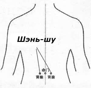 точка Шэнь-шу   боли в спине