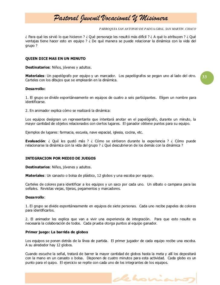 Dinamicas Para Grupos Juveniles Padua Chacos San Antonio
