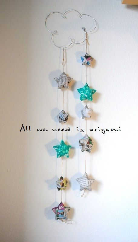 DROP STARS baby MOBILE origami by by allweneedisorigami on Etsy