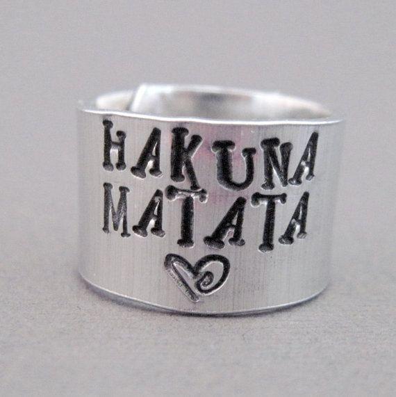 Disney Lion King Ring - Hakuna Matata - Hand Stamped Aluminum... I want this!!