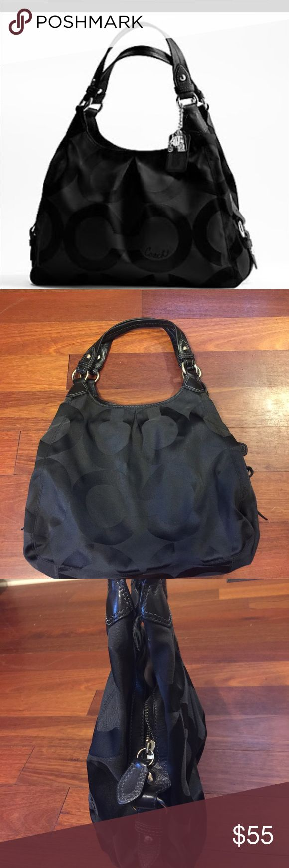 Black Coach Purse This is a used Coach purse that is black in color with. Lack leather straps. The inside is lined with light purple and has a ton of storage space. The print is the signature Coach print. This handbag was dry cleaned after last use. Please let me know if you have any questions. Thanks! Coach Bags Shoulder Bags
