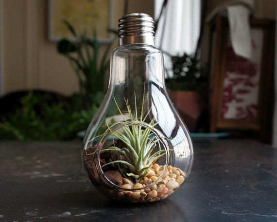 2pcs / set terrários de lâmpada, vaso de lâmpadas de mesa de planta de ar para decoração de mobiliário de casa de moda, presentes verdes
