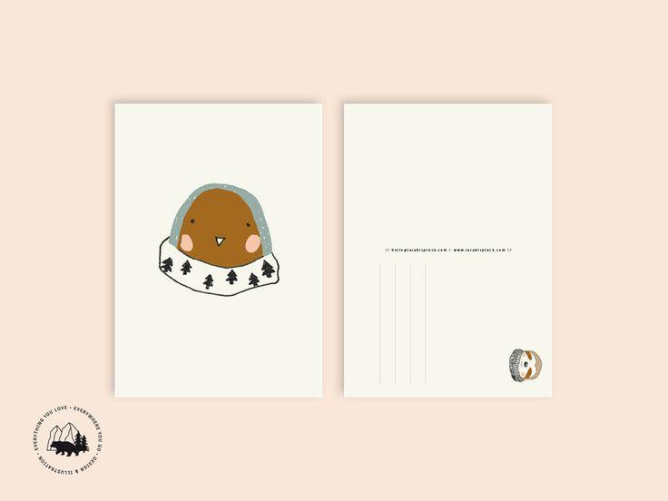 Sommer - Rotkehlchen   Postkarte - ein Designerstück von everywhereyougo bei DaWanda