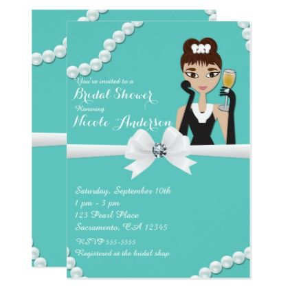 #Tiffany Glam Pearls & Wine Bling Bridal Shower Card - #birthdayinvitation #birthday #party #invitation #cool #parties #invitations
