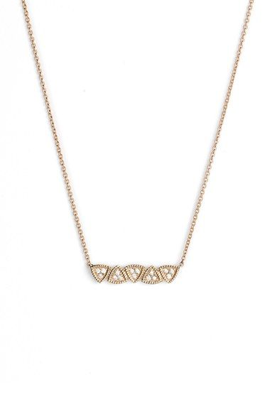 'Emily' Diamond Bar Pendant Necklace. A tessellation of milgrain-trimmed triangles illuminated with pavé diamonds forms the slender pendant of a 14-karat gold necklace that makes a meaningful keepsake.