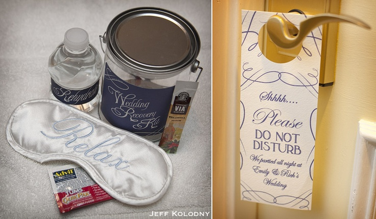 """Put together a """"Wedding Recovery Kit"""" for guests containing all the essentials to make the day after a little more bearable!"""