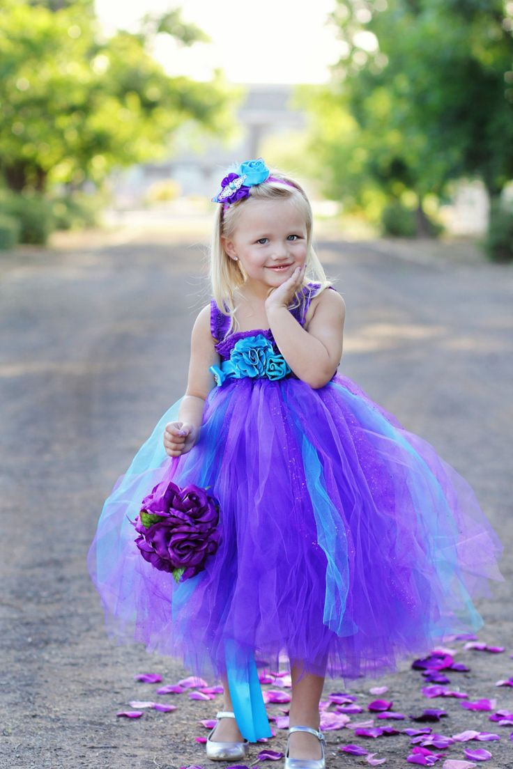 Peacock Purple and Turquoise Flower Girl Dress by LittleLocaTutus