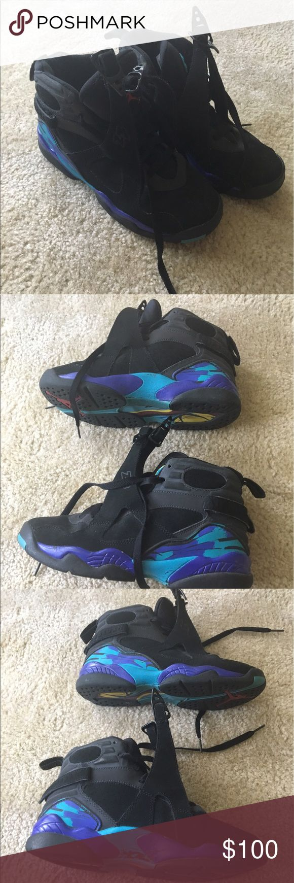 """Air Jordan """"Aqua"""" 8 Used but good condition Air Jordan Aqua 8s. These are not from the recent batch released, they are in fact over 10 years old! I do not have the original box to them. I do have a matching jacket that is NWT that will be posted. Size 5.5Y Nike Shoes Sneakers"""