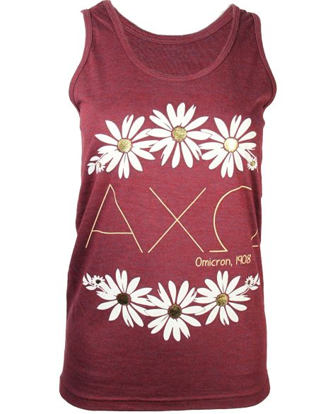Alpha Chi Omega Flower Tank by Adam Block Design | Custom Greek Apparel & Sorority Clothes | www.adamblockdesign.com