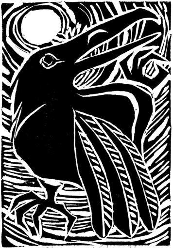 Exotic bird printmaking.
