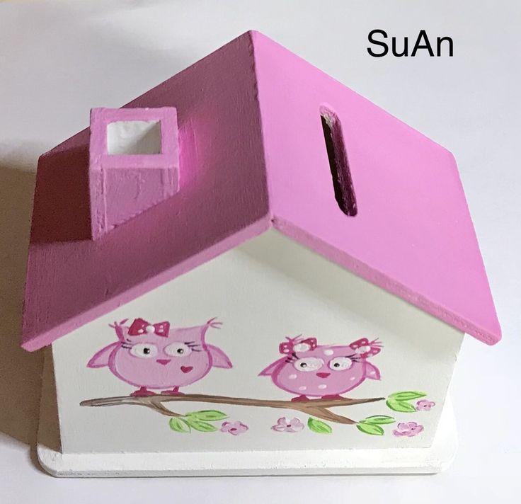 Geldgeschenke - Spardose Holz Eulen rosa  - ein Designerstück von SuAn-Bilder bei DaWanda