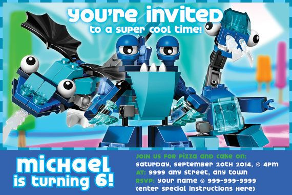 Lego Mixel Party.  Lego Mixels 4x6 Birthday Invitation Series 2 w/FREE Thank You Notes!2