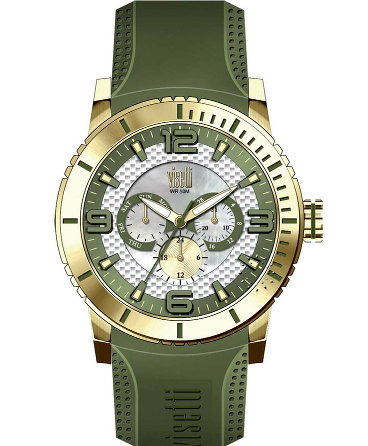 VISETTI New Era Gold Khaki Rubber Strap Μοντέλο: PE-750GG Τιμή: 120€ http://www.oroloi.gr/product_info.php?products_id=39483