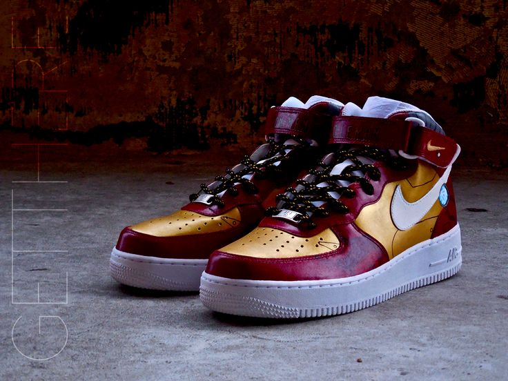 A custom Air Force 1 Mid inspired by Iron Man #running #fitness #workout #healthy #reshoevn8r #cleankicks
