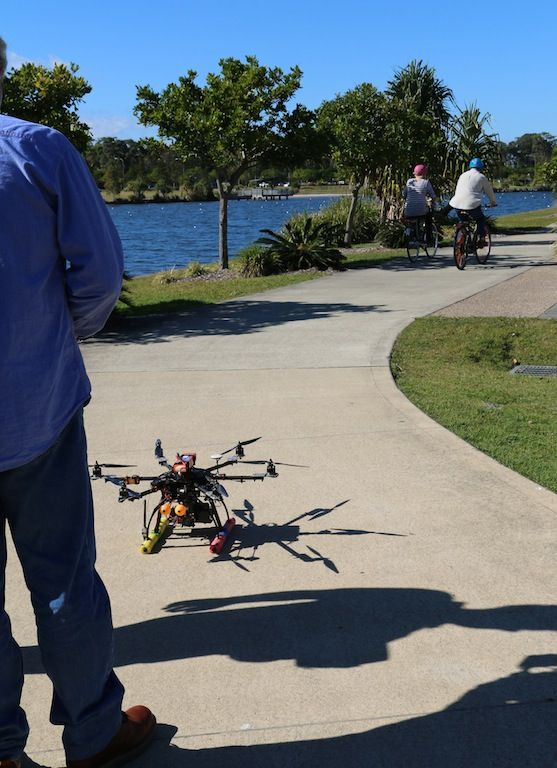 The video drone about to take off to shoot the test ride video