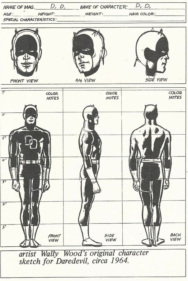 Daredevil character design by Wally Wood