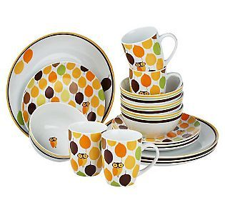 Rachael+Ray+Dishes+On+Clearance | Rachael Ray Little Hoot 16-piece Service for 4 Dinnerware Set — QVC ...