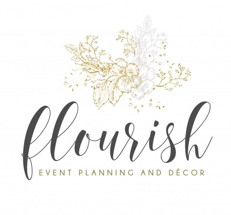 flourish logo, elegant logo design, event planning, logo design, logo, gold, sparkle, grey, palette, wedding, party, script