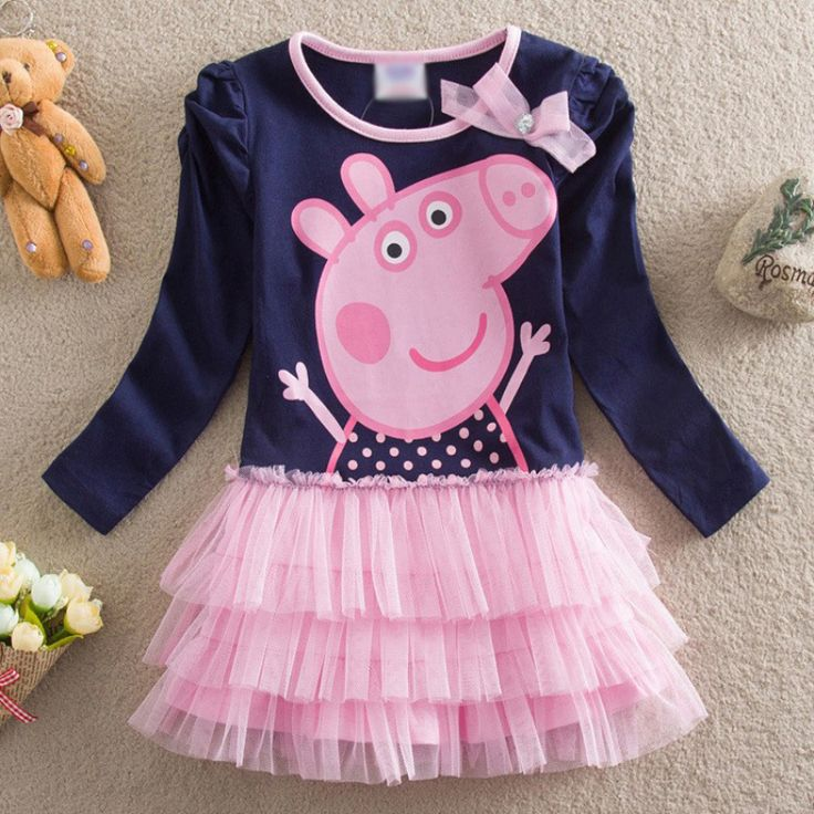 2017 Autumn baby girl dress printed fashion cartoon pig princess lace dress children clothing girls dress cotton girls clothing