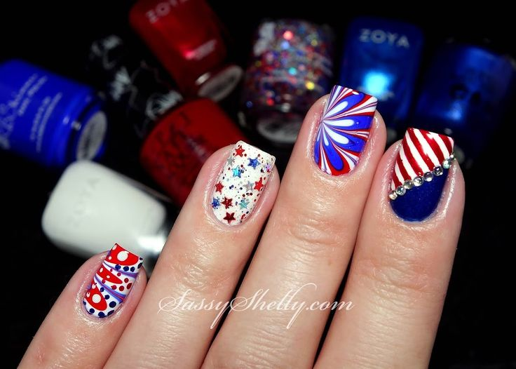 Digit-al Dozen DOES Countries & Cultures ~ 'Murica Skittlette. Blue Nail  DesignsRed White ... - 50 Best Nails: Red, White & Blue Holiday Themed Nail Art Images On