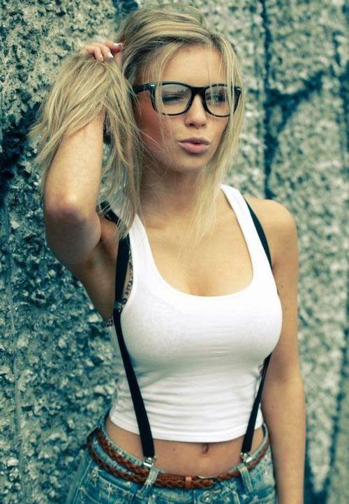Amateur nerdy blonde