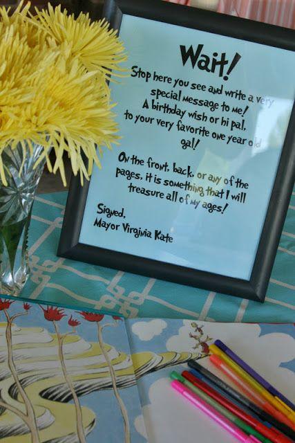 Dr. Seuss Party message @Xavier Lambrecht Lambrecht Lambrecht & Heather Spence Gonna make this for punkin pie's b'day