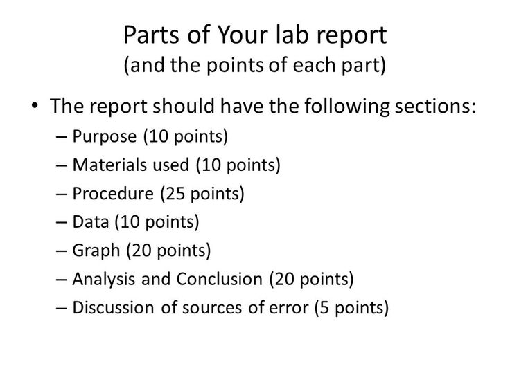 Parts Of A Lab Report - Vision professional