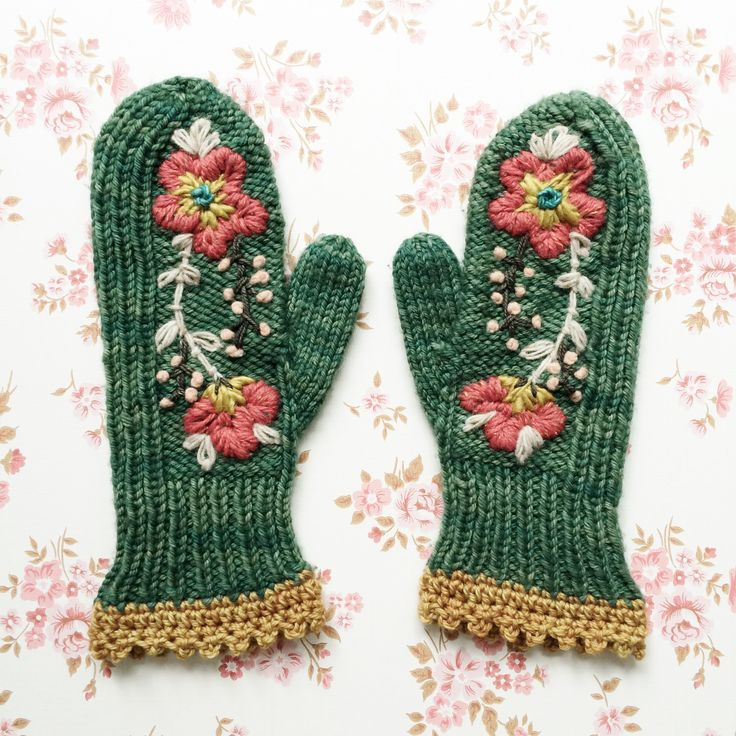 these mitts were made by another, i added a crochet edging and a woolly tattoo. the mitt pattern is called Maize and is free on ravelry by TinCanKnits