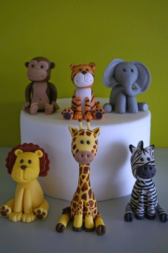 Animales de safari fondant cake topper topper de elefante