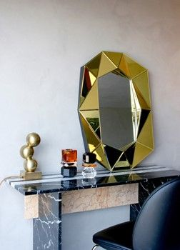 Diamond mirror small Gold & Crystal Version decor