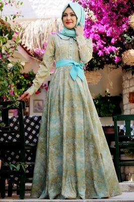 Gamze Polat Mint Sahra Elbise