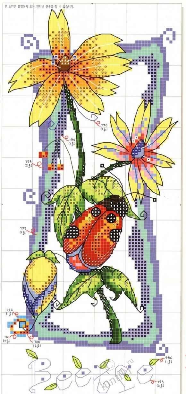 Схема вышивки крестиком - цветочки