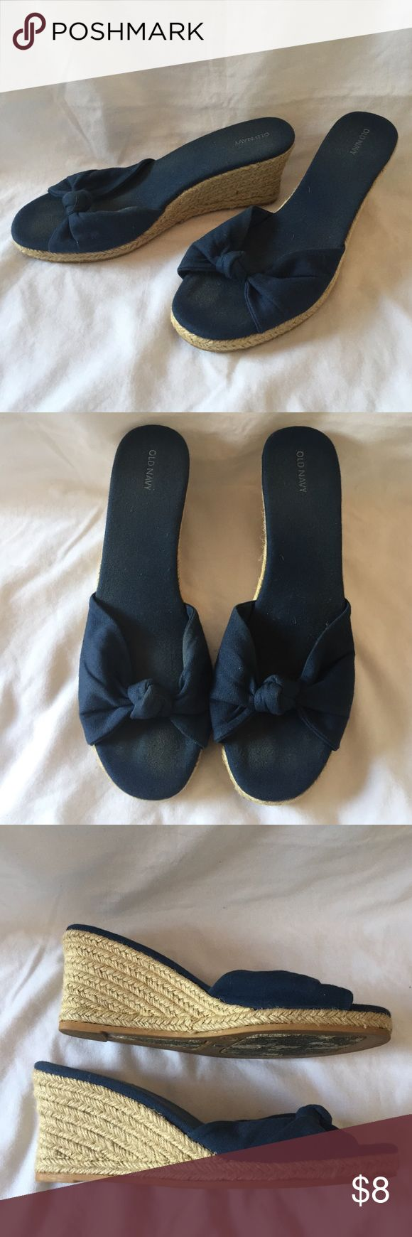 Navy Espadrille Wedges! Cute navy espadrilles that are perfect for summer! Only worn a few times and in overall good condition! There is some wearing where my foot has been because of the linen fabric, but is not noticeable when worn!  About 2.5 inches in height. Size 9! Old Navy Shoes Espadrilles