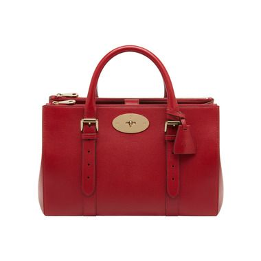 Mulberry - Bayswater Double Zip Tote in Poppy Red Shiny Goat