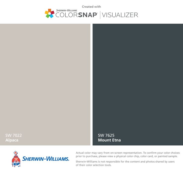 Exterior paint and shutters  Sherwin-Williams: Alpaca (SW 7022), Mount Etna (SW 7625).