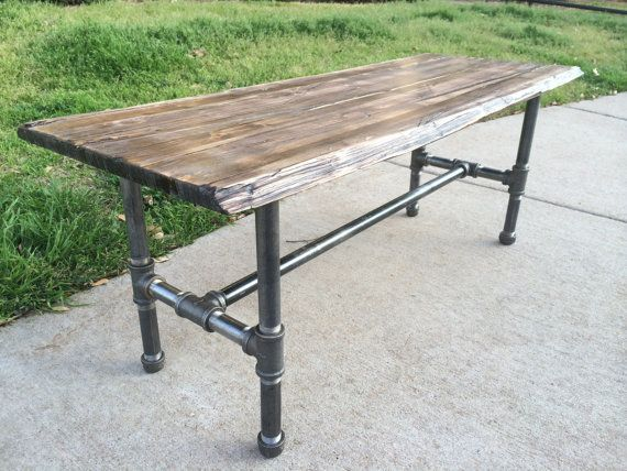 This handmade coffee table is 42 long 16 wide and 16 5 for Rustic pipe table