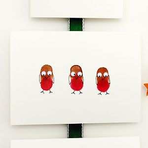 Make a thumbprint robin Christmas card